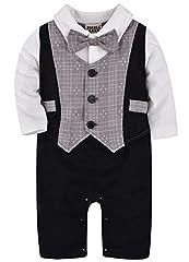 Idea Regalo - ZOEREA 1 pezzo neonati Gentleman Tute lunghe pagliaccetti maniche per il Battesimo Matrimonio (0-24M)