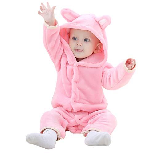 (Tandou Overall Baby Flanell Cartoon Baby Strampler für Mädchen Junge (6-12 Monate, Rosa))
