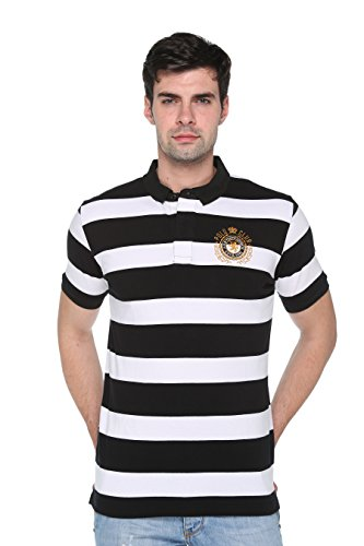 Harbor N Bay Mens Striped Polo Neck T-Shirt(OS-191Stiper-L)  available at amazon for Rs.299