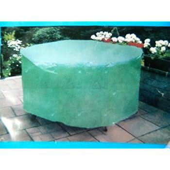 bache Housse ronde verte de protection salon de jardin table chaises ...