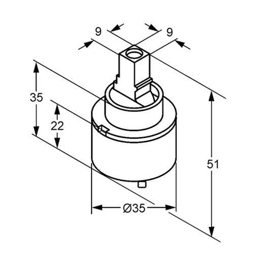 Kludi – Kartusche für Einhebelmischer, Heißwasserbegrenzung, Ø 35 mm - 3
