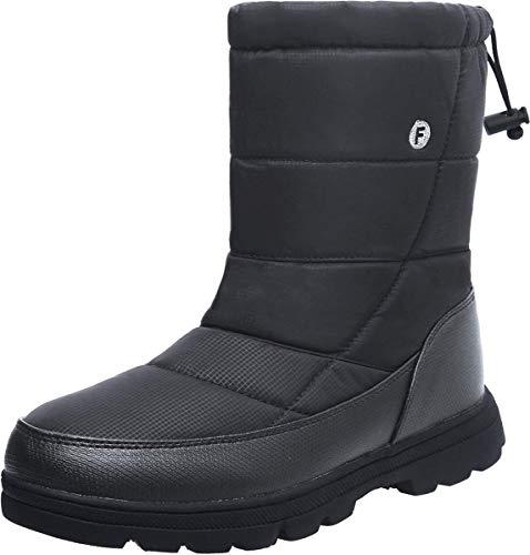 L-RUN Herren Winter Schnee Stiefel Mitte Kalb Warme Schuhe für Kaltes Wetter mit Vollem Fell Grau, 12 UK