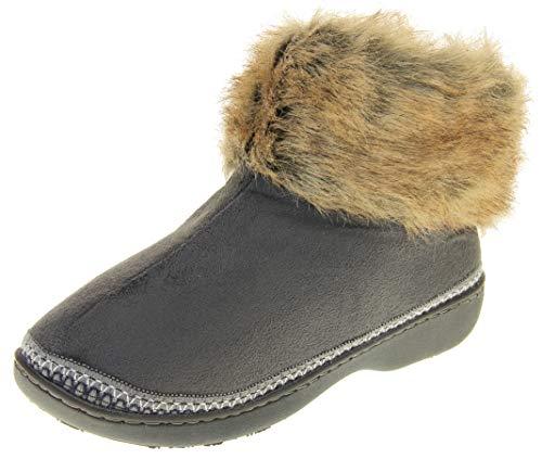 Dunlop Mujer Zapatillas De Estar por Casa para Mujer Espuma De Memoria Gris EU 40-41