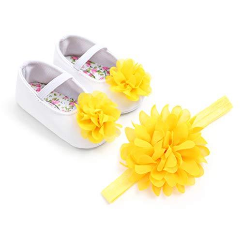 EDOTON Baby Mädchen Blume Schuhe Haarband Set Kleinkind Anti-Rutsch-Weiche Lauflernschuhe Besondere Anlässe Taufe Hochzeit Party Schuhe (0-6 Months, Gelb)