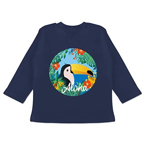 Karneval und Fasching Baby - Aloha Tukan - 12-18 Monate - Navy Blau - BZ11 - Baby T-Shirt Langarm (Shirt Navy Aloha)