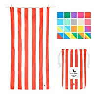 Dock & Bay Sand Proof Beach Towels Portable - Extra Large XL 200x90cm, Large 160x80cm - mint green striped design travel towel