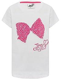 M&Co JoJo Siwa 100% Cotton White Short Sleeve Crew Neck Two Way Flip Sequin Bow T-Shirt
