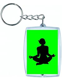 """'Porte-clés """"exercice de fitness de Femelle de Fille de Santé de humaine de Personnes de personne de pose de silhouette de dilatation de Madame Sac de yoga en noir/blanc/bleu/rose/jaune/rouge/vert   Caddie–Remorque–Sac à dos–Porte-clés, vert"""