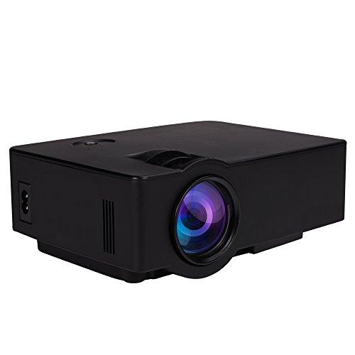 mini Beamer, LESHP HD Portble Projektor, LED LCD USB Heimkino Videoprojektor 800x480 1080P Native Auflösung Unterstützt 1080P AV/USB/ HDMI/TF/ AUDIO(TV) für zu Hause, Unterwegs Konferenzrunde Party Unterhaltung
