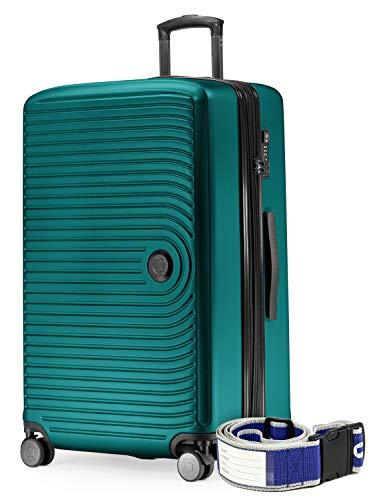 HAUPTSTADTKOFFER - Mitte - Grossa valigia a rotelle, Trolley rigido con estensione cinghia dei bagagli, TSA, 4 ruote doppie, 77 cm, 130 L, Turchese