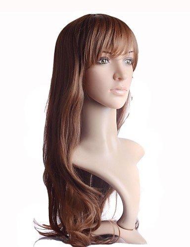 BBDM longs bruns synthétiques perruques sexy droites de haute qualité capless chaleur fibre résistant