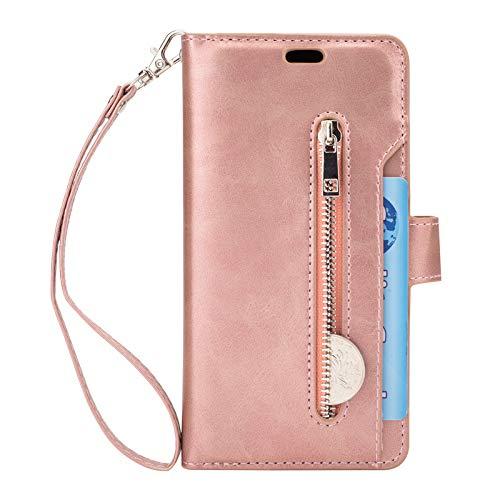 Yimiky Samsung Galaxy S8 Plus Hülle, PU Leder Reißverschluss Flip Case Schutzhülle mit Kartenfächern und Handschlaufe für Samsung Galaxy S8 Plus (Rotgold)