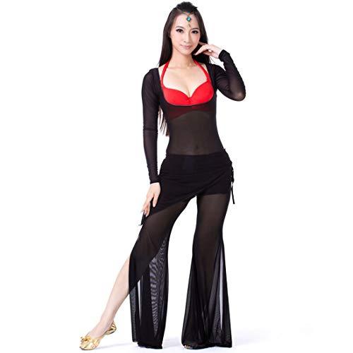 Calcifer Bauchtanz-Kostüm, Set für Erwachsene, Damen, Mädchen, Tanz, Perspective Langarm-Bodysuit, Hose, Schwarz