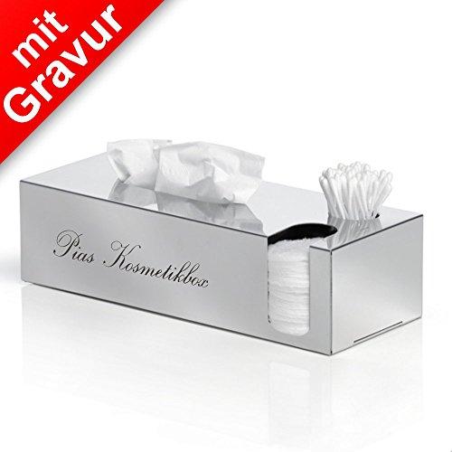 Sterngraf blomus NEXIO Kombibox poliert für Kosmetiktücher, Wattestäbchen, Pads MIT Gravur (z.B. Namen) - Kosmetikbox, Kosmetikaufbewahrung