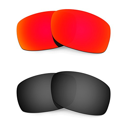 HKUCO Plus Mens Replacement Lenses For Oakley Fives Squared Sunglasses Red/Black Polarized