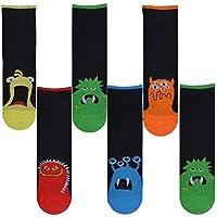 Boys 6 Pack Stripe Design Socks Black Blue Monster Coloured Cotton Rich Socks