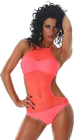 Femmes PF Fashion Monokini bikini maillot de bain une pièce licol net 38/40 Salmon