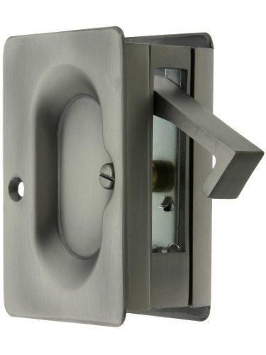 Premium Quality Mid-Century Pocket Door Passage Set In Antique Pewter. Pocket Door Hardware. by Emtek -