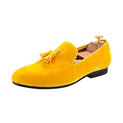 Herren Samt Schuh Britische Stil Loafers Ohne Verschluss Flach mit Samt Quaste Gold Gelb