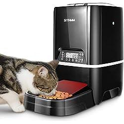 6.5 Litros Comedero Automático para Perros y Gatos Mascota Feeder Distributore con Recordatorio por Voz,4 Comidas, Temporizador Programable, Comedero Electrónico Automático Mediano y Pequeño (Nero)
