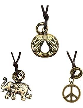 La Viano® Lederkette Herren Leder-Necklace Männer 3er-Set Echtleder Elefant Fische Peace-Zeichen verstellbarer...