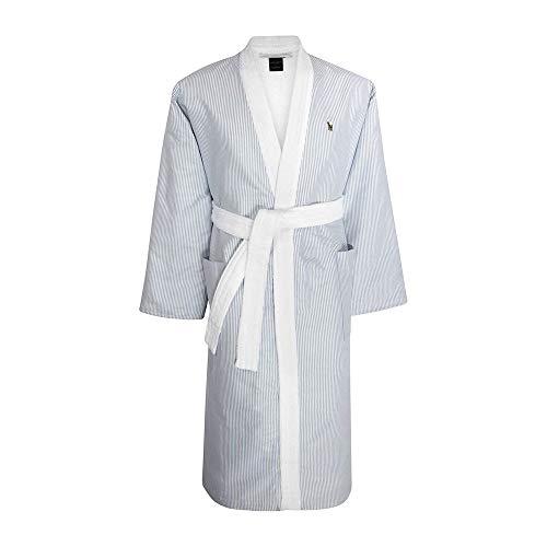 Tommy hilfiger accappatoio kimono con cappuccio tg s m l xl xxl 100% spugna puro cotone uomo donna chambray (grey, m - 46/48)