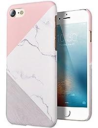 Pour iPhone 7 cas 4,7 pouces, LCHULLE Slim-Fit anti-rayures PC dur granit marbre pierre naturelle et amortissant les chocs Contraste Geo Couleur Texture rigide couverture de cas-Rose