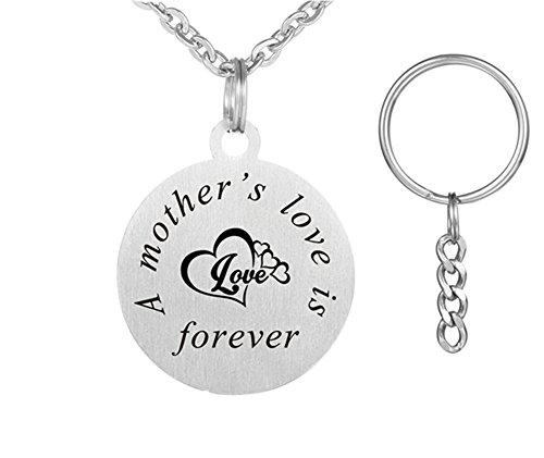 lisierte Mom Geschenk Edelstahl Sentimental Name Customized Engravable Runde Tag Keychain Anhänger Halskette für Mama von Tochter Sohn Kinder für Mütter Tag Geschenk ()