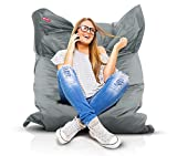 Roomox Original Sitzsack-120x160cm-für drinnen & draußen XXL Sitzsack, Stoff, Hellgrau, 160x120x30 cm