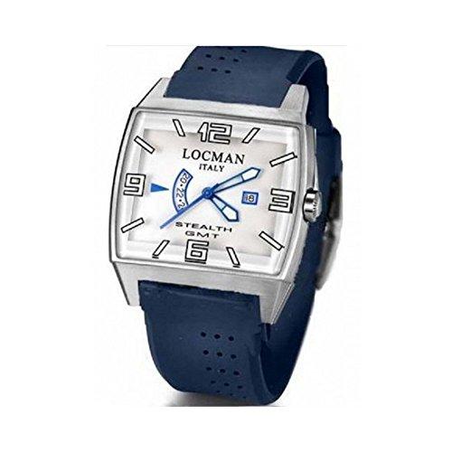 Montre Locman Stealth 030000whfblksib au quartz (Batterie) titane Quandrante Blanc Bracelet Silicone