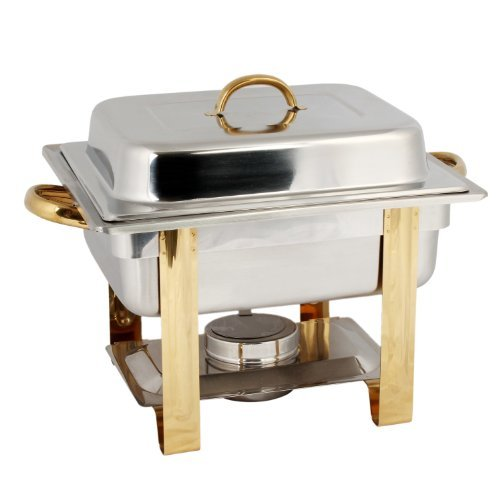 Tiger Chef 4 Quart Rectangular Stainless Steel Chafer Warmers Half Size Chafer includes 2 Free Chafing Fuel Gel Cans by TigerChef (Steel Chafer)