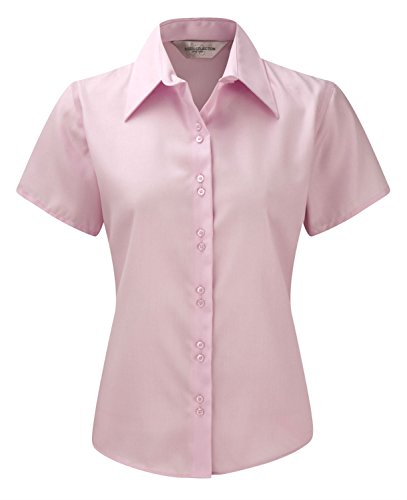 Russell Damen Short Sleeve Ultimate bügelfrei Shirt Bluse Gr. Medium, Rose - Revere Kragen