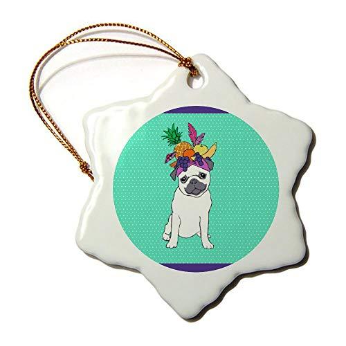 wendana Lustige Tropische Mops Hund Ornamente Neuheit Keramik Weihnachten Ornamente für Weihnachtsbaum Dekoration Andenken Ornamente -