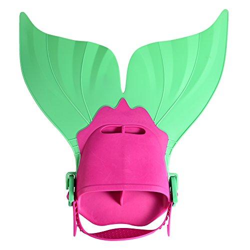 Meerjungfrauen Flosse Kinder | Monoflosse Schwimmflosse Taucherflosse für Kinder | Verstellbarer Knöchelriemen | Zusätzlicher Silikonschutz (Fosse Kostüm)