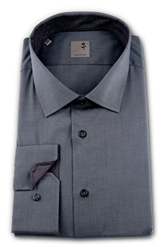 Seidensticker Herren Langarm Hemd Schwarze Rose Slim Fit Business Kent Patch grau strukturiert 245856.35 Grau