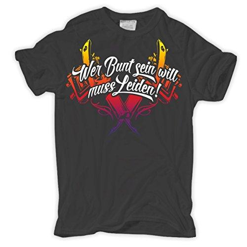 Männer und Herren T-Shirt Wer bunt sein will muss leiden Aschgrau