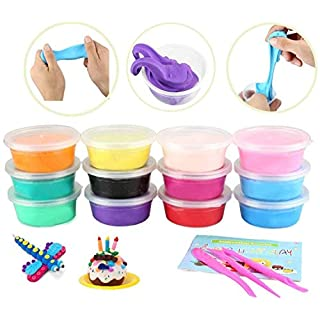 Aibesser Air Drying Clay, Polymer Clay 12 Colors Clay Toy for Kids, Best DIY Educational Creative Gift for Child.