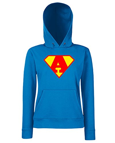 T-Shirtshock - Felpa Donna Cappuccio T0651 A SUPERMAN fun cool geek, Taglia L