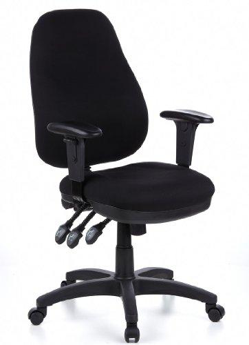 hjh OFFICE 702000 Bürostuhl Drehstuhl ZENIT PRO Stoff schwarz, extrem dicke feste Polsterung, sehr gute Verstellmöglichkeiten, höhenverstellbare Armlehnen, Schreibtischstuhl ergonomisch, Büro Sessel
