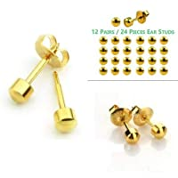 QKYPZO 12 Pairs (24 Pieces) Ear Piercing Studs 316L Surgical Steel Sterile (Medical Class Stainless Steel) for Ear…
