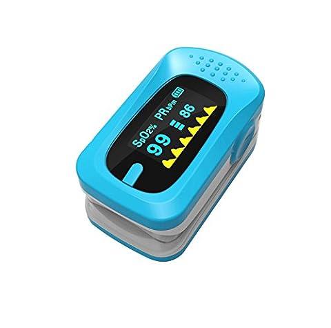 LED Finger Clip Sauerstoff Meter Finger Pulse Sauerstoffsättigung Überwachung Monitor Herzfrequenz Messgerät für Home Health Care (Mehrfarbig optional), blau