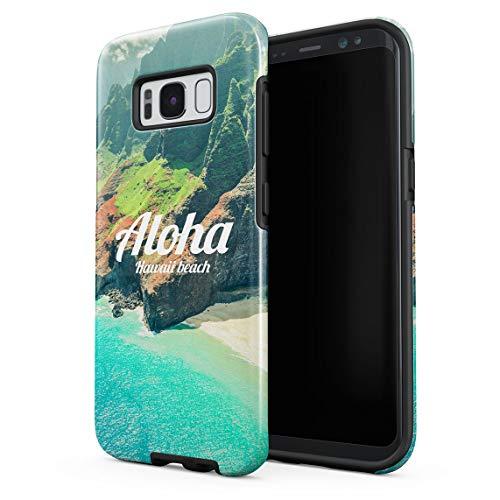 Cover Universe Hüllen für Samsung Galaxy S8 Hülle, Aloha Hawaii Tropical Vibe Beach Ocean Sea Mountains stoßfest, zweilagig mit Hardcase aus PC + Hülle aus TPU, hybride Case Handyhülle -