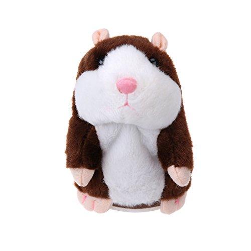 TOYMYTOY Juguete hámster de hablando Repite lo Que Dices Hamster Interactivo Peluche Habla juguete para regalo de niños, pilas no incluidas (Marrón)