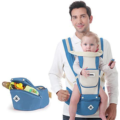 Babytrage Neugeboren, Multi-Funktions-Rücken Atmungsaktiv, Sicherheitsverstellbare Träger, Baby-Frontumarmungs-Taillenschemel Vier Jahreszeiten Universal
