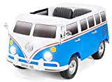 Actionbikes Motors Kinder Elektroauto VW Bus Bulli T1 Samba Camper Kinderauto Elektro Auto lizenziert 35 Watt Motoren 2 Personen in vielen Farben (Weiß/Blau)