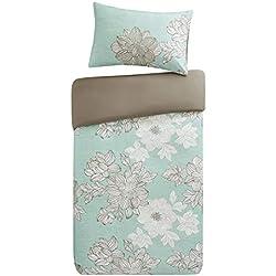 SCM Bettwäsche 135x200cm Blumen Blau Mikrofaser 2-teilig Bettbezug & Kissenbezug 80x80cm Angenehm und Weich Ideal für Gästezimmer Avalon
