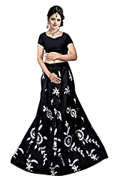 Florence Womens Silk Black Embroidery Lehengha Choli(MX008_Black)