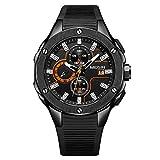 Megir Wrist Watch for Men, Silicone, MN2053G-BK-1N11