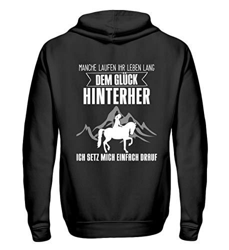 Pferde Shirt · Geschenk für Reitsport Fans · Pferd Motiv: Dem Glück hinterher Laufen - Zip-Hoodie