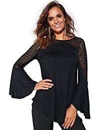 VENCA Camiseta de Fiesta con guipur geométrico Mujer by Vencastyle - 024366